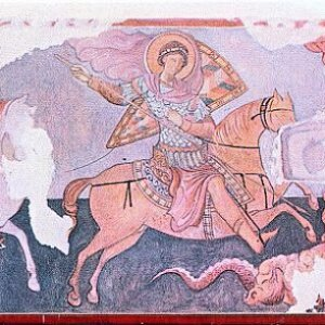 Medieval Crimean mural showing St. George
