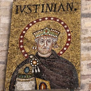 Mosaic of Emperor Justinian in Basilica of Sant'Apollinare in Classe. Ravenna, Italy..jpg