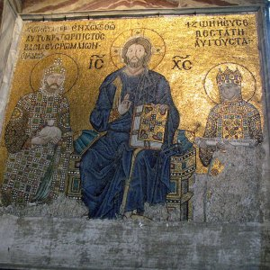 Mosaic of Christ Pantocrator, flanked by Empress Zoë and Emperor Constantine IX, at the Hagia ...jpg