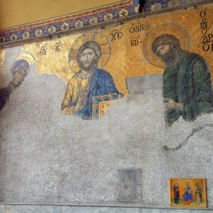 Deesis Mosaic made the 13th century. Mosaic of Christ, flanked by Virgen Mary and John the Bap...jpg