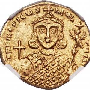 A gold coin minted in Constantinople (Byzantine Empire) during the reign of empero Philippicus...jpg