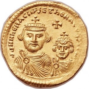 A gold coin minted in Constantinople (Byzantine Empire) during the reign of empero Heraclius (...jpg