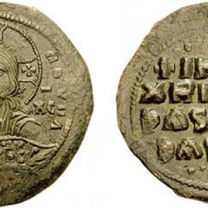 A bronze coin depicting Christ. Minted in Byzantine Empire around year 1000.jpg