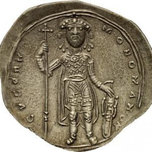 A silver coin, Miliaresion, minted during the reign of Constantine IX Monomachus (1042-1055).jpg