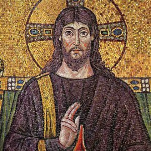 6th-century mosaic in Sant'Apollinare Nuovo, Ravenna portrays Jesus long-haired and bearded, d...jpg