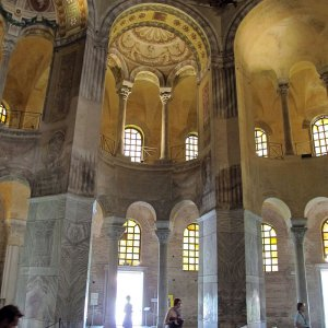 Inside the Basilica of San Vitale, a Byzantine church in Ravenna, Italy..JPG