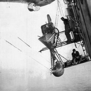 Britain Airship over the sea in World War I
