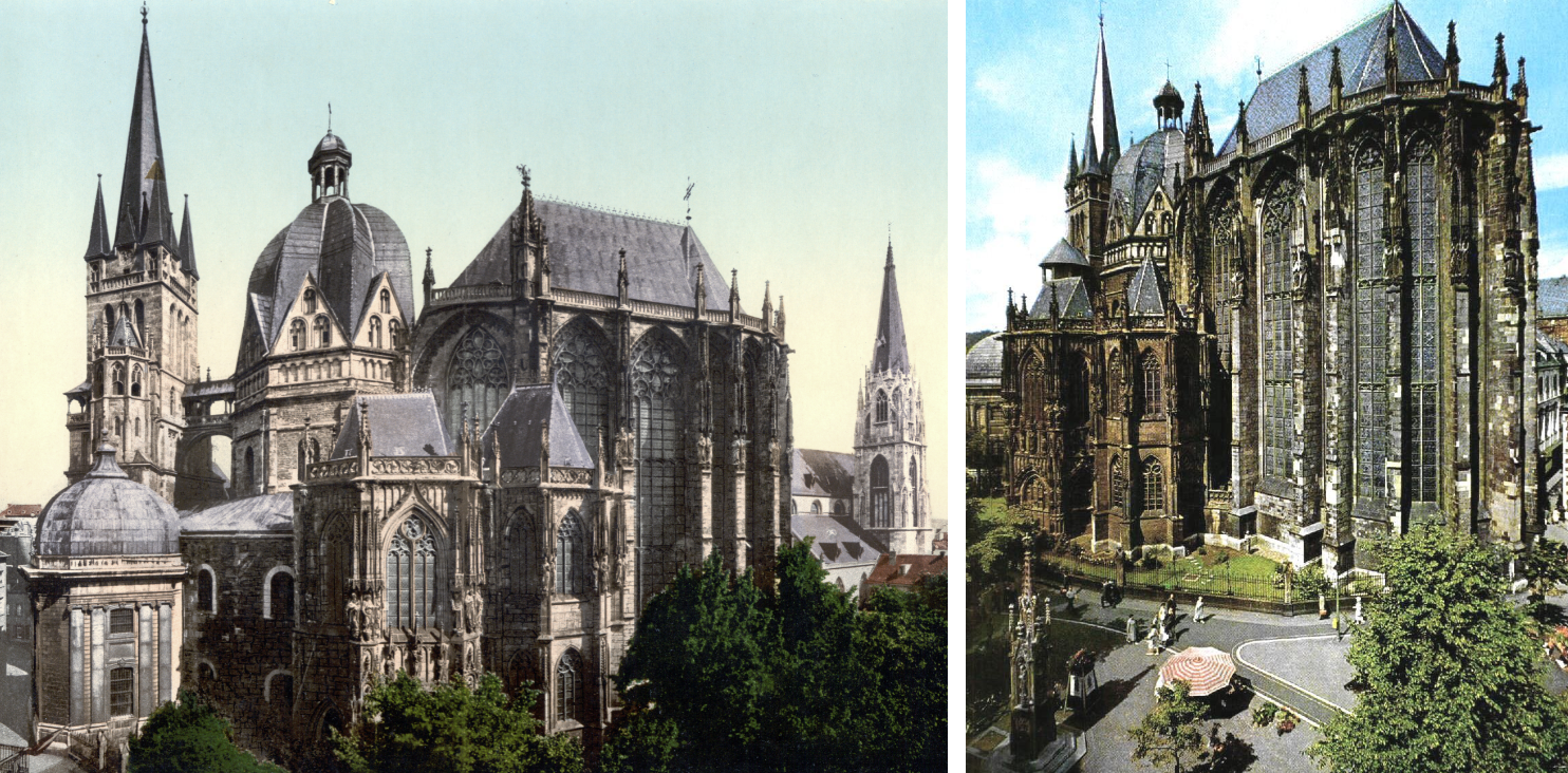 Aachen Cathedral built during the reign of Charlemagne (r. 800–814).png